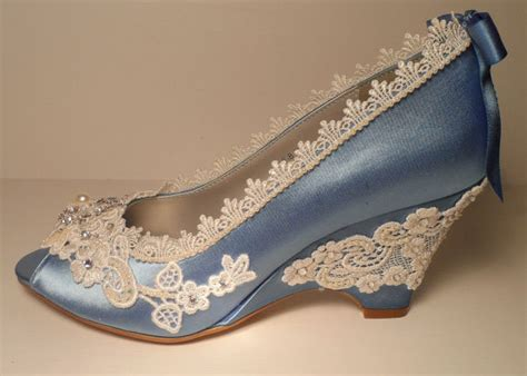 Blue Wedge Heels Wedding by Blue Wedding Wedges Lace Wedge Bridal Peeptoe Wedge