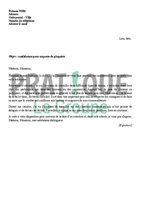 Lettre De Motivation De Peintre En Batiment Lettre De Motivation Pour Devenir Plaquiste Pratique Fr