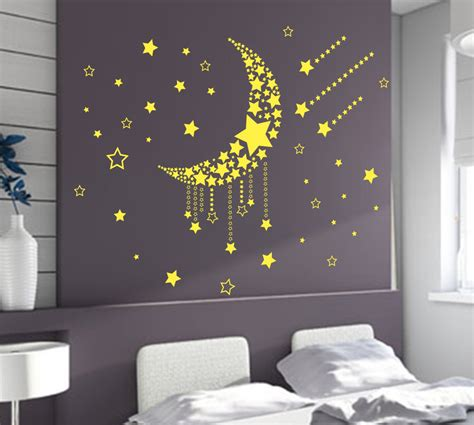 bedroom wall art large moon stars wall art vinyl stickers diy bedroom wall