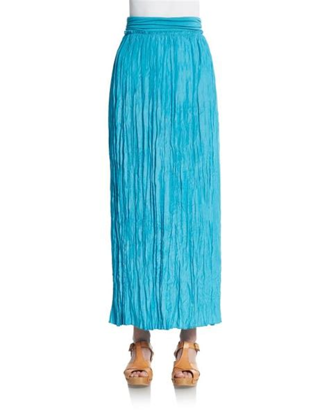 saks fifth avenue crinkle maxi skirt in blue turquoise