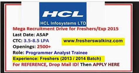 Mba In Chennai For Freshers 2015 by Hcl Cus For Freshers Hyderabad Chennai Bangalore