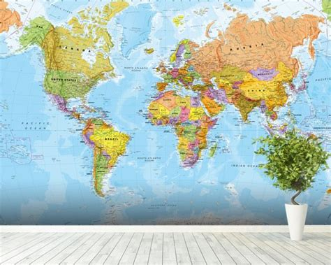 Map Of The World Wall Mural political world map wall mural amp world map wallpaper