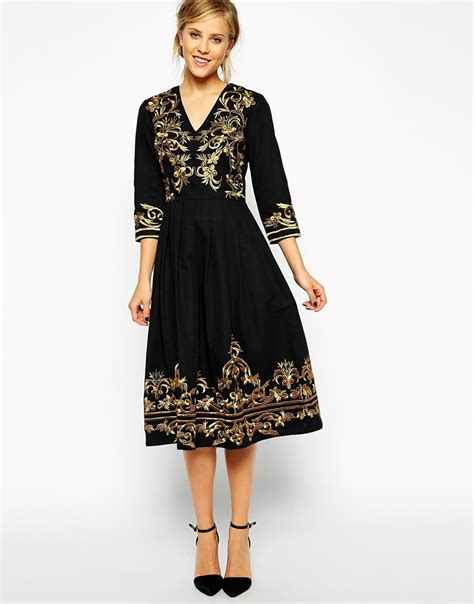 Premium Dress Embroidery Aic lyst asos premium midi dress with metallic embroidery in