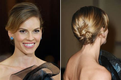 hair styles for gala dinner for short hair get the look hilary swank s sleek updo