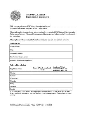 Telework Agreement Template by Mobile Device And Teleworking Policy Template Fill Out