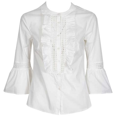 Moon Mooneyes Checker Sleeve White maciera shirt with bell sleeves and whitemoon lace details bowdoo