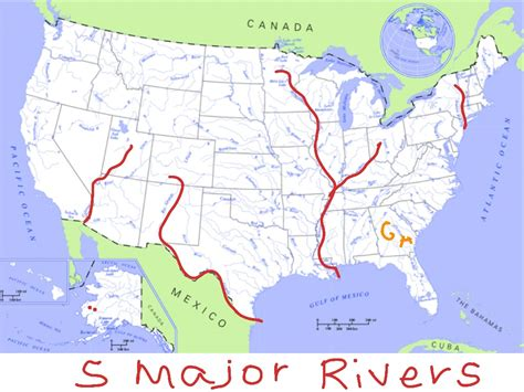 united states map with rivers on it five major rivers of the u s showme