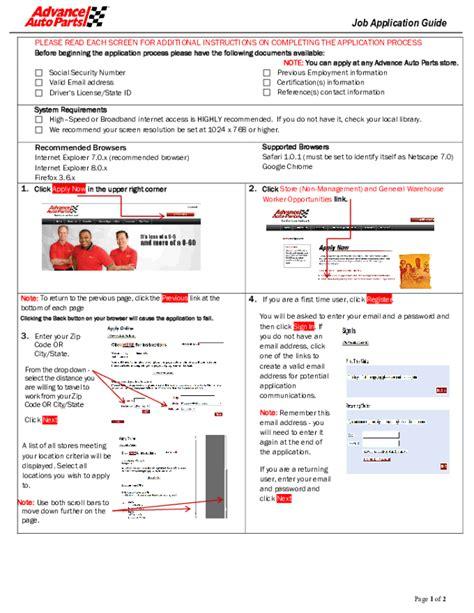 free printable advance auto parts application form