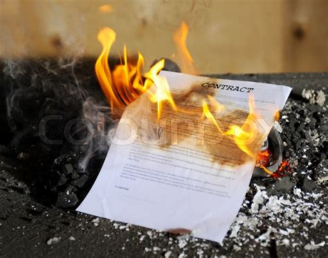 Mortgage Burning Letter Burning In The Flames Of The Document Stock Photo Colourbox