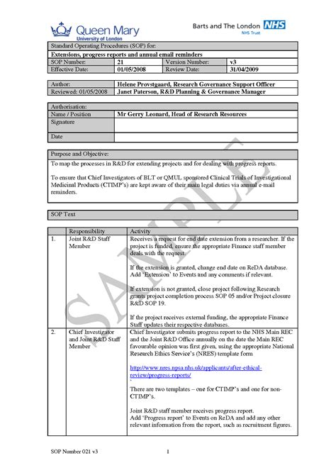 standard operating procedures templates standard operating procedure template free sop template