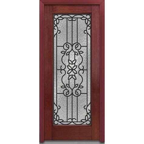 Main Door 36 In X 80 In Mahogany Type Prefinished Cherry Mahogany Front Doors With Glass