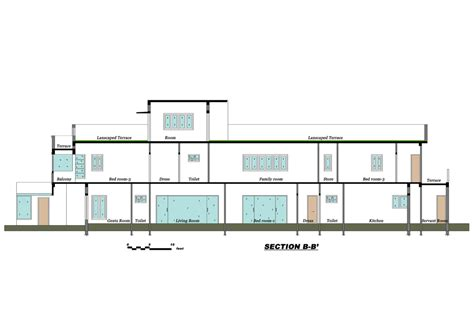 house section drawing sait colony house chennai designed by ansari architects