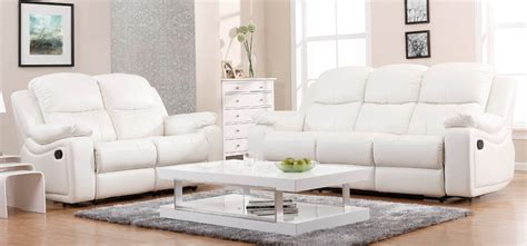 montreal blossom white reclining 3 2 seater leather sofa set