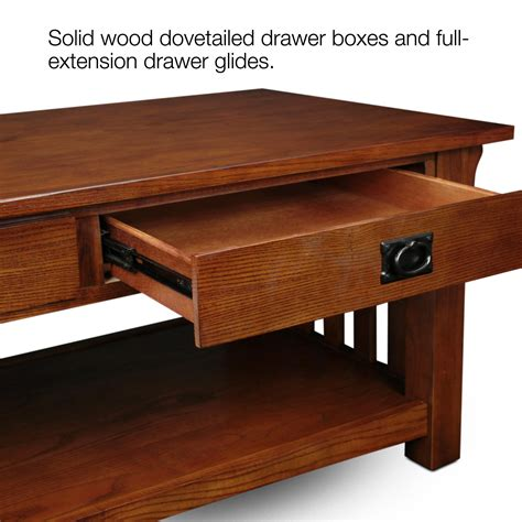 coffee table with drawers amazon amazon com leick furniture mission 2 drawer coffee table