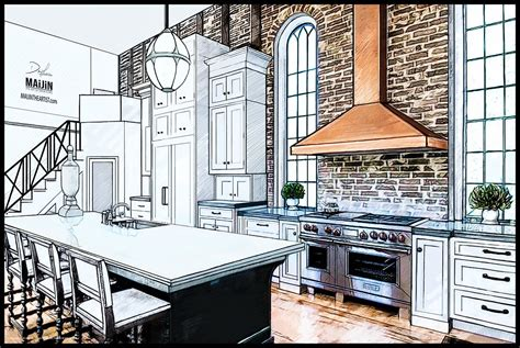 interior kitchen concept design drawing  professional