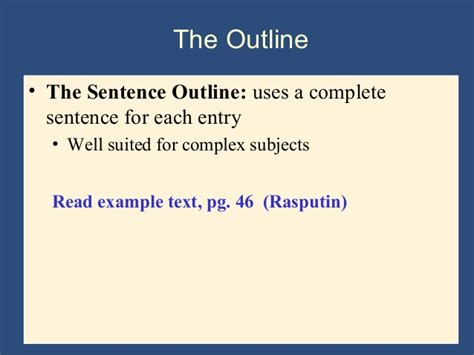 sentence patterns purdue owl sentence outline exles for research papers