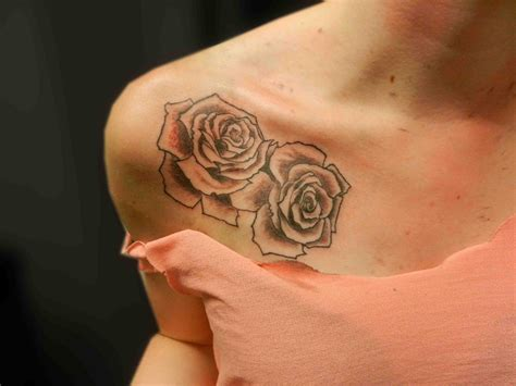 front shoulder tattoos black and grey shaded roses flower shoulder