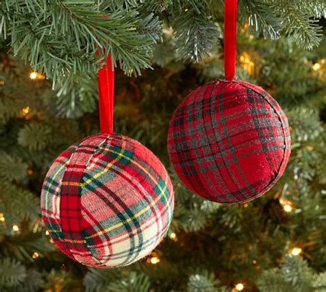 plaid fabric ball ornament pottery barn