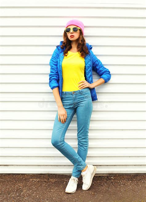 colorful clothes fashion pretty model in colorful clothes white