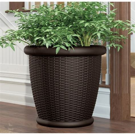 Large Plastic Garden Planters by Large Plastic Planters Pots Outdoor Patio Resin Wicker 22 Quot Java Brown Garden New Ebay