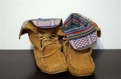 tribal pattern boots shoes native american moccasins brown shoes tribal