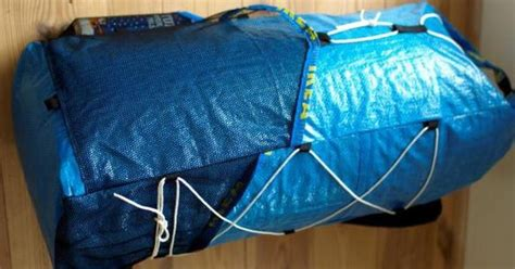 build an ultralight backpack from ikea plastic tote bags ultralight backpack made out of ikea bags diy