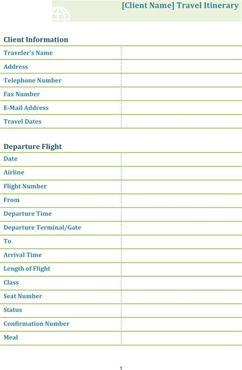 free itinerary template dotx 61kb 4 page s