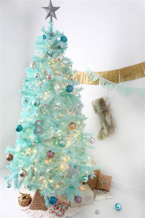 diy mint green christmas tree spray painted tree trees