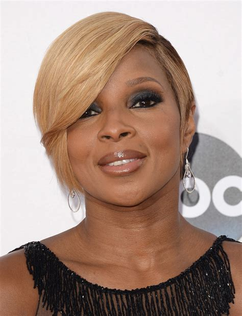 Mary J Blige Hairstyles Pictures | mary j blige side parted straight cut short hairstyles
