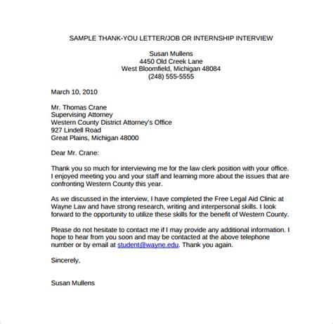 Thank You Letter Template To Employer sle thank you letter to employer 18 free