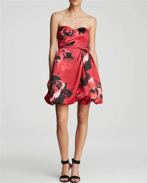 Delias Floral Print Satin Dress by Lyst Aidan Mattox Dress Strapless Satin Floral Print