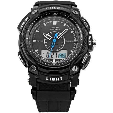Ohsen Waterproof Quartz Digital Sport Ad1209 1 Ohsen Waterproof Digital Lcd Alarm Date Sport Rubber Quartz Wrist Black