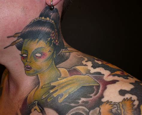 japanese tattoo on neck japanese neck and chest tattoo by blackstartattoo on