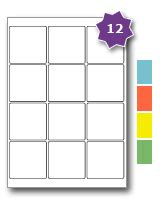 label template 65 per sheet square coloured paper labels 12 per sheet 65 x 65mm