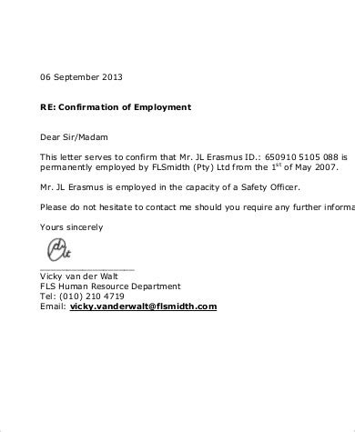 sle proof of employment 5 exles in word pdf