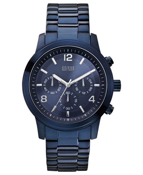 Guess Blue lyst guess s chronograph blue ion plated stainless
