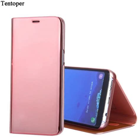 Flip Cover Andromax E2 E2 Plus 4 5 Leather Sar Berkualitas mirror for samsung s8 s8 plus flip leather plating cover smart window view stand pc