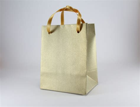 Handmade Goodie Bags - 100 small gift bags handmade of gold leaf paper with