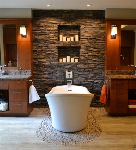 stacked stone bathroom stacked stone candle wall contemporary bathroom