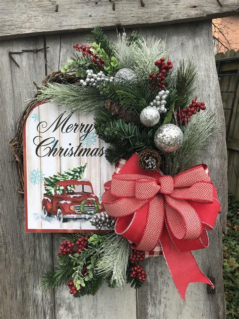 winter long pine wreath  front door winter