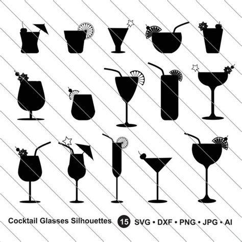 cocktail svg cocktail glasses silhouettes svg cocktail glasses clipart