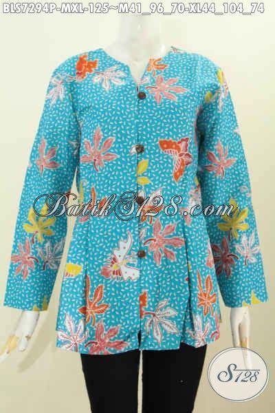 Pakaian Wanita Blus Batik Astri Motif 4 baju blus batik motif bunga dasar biru muda pakaian batik