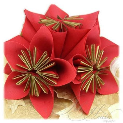 Paper Flowers Folding - autumn asks why day 12 poinsetta s