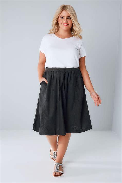 black linen midi skirt plus size 16 to 36