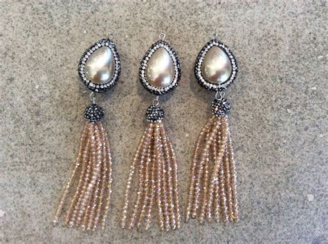 make jewelry wholesale pave encrusted pearl tassel jewelry wholesale