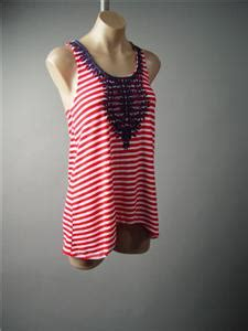 44878 Blue Classic Stripe S M L Top Le0111117 Import white stripe blue embroidery americana nautical tank
