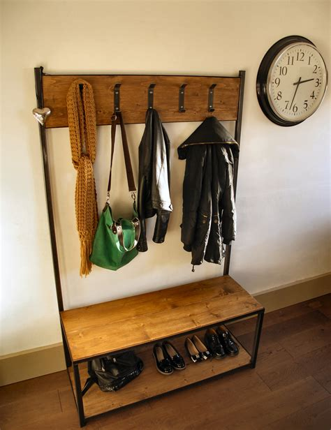 bench seat with coat rack industrial style coat stand bench seat
