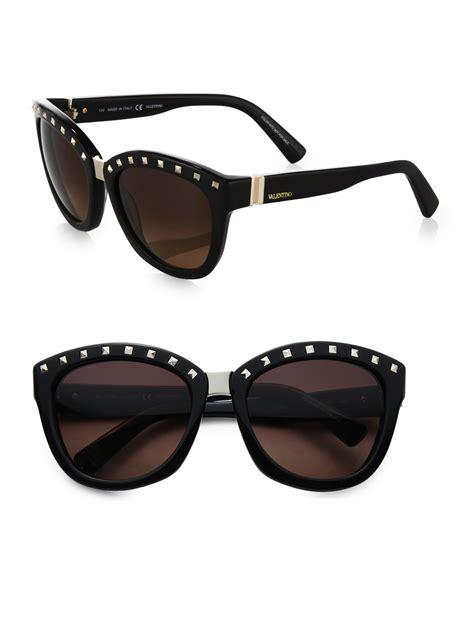 Studdef Sunglasses lyst valentino square studded sunglasses in black