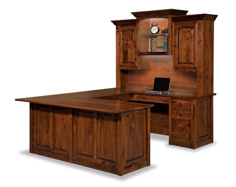 Amish Victorian Wrap Around Quot U Quot Corner Computer Desk Hutch Real Wood Computer Desks