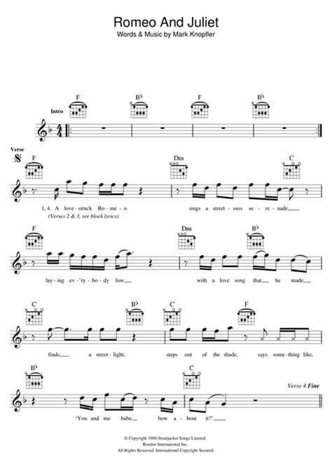 romeo and juliet theme tab romeo and juliet chords by dire straits melody line